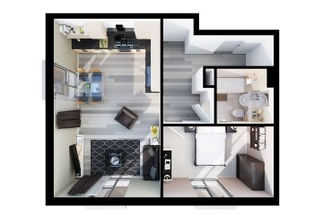 Typical 1 Bed Apartment Layout